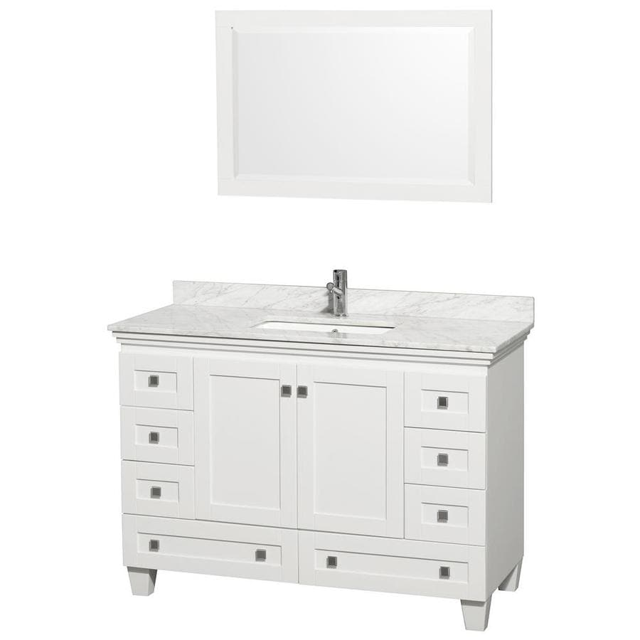 Wyndham Collection Acclaim White Single Sink Vanity With Carrera Natural Marble Top Common
