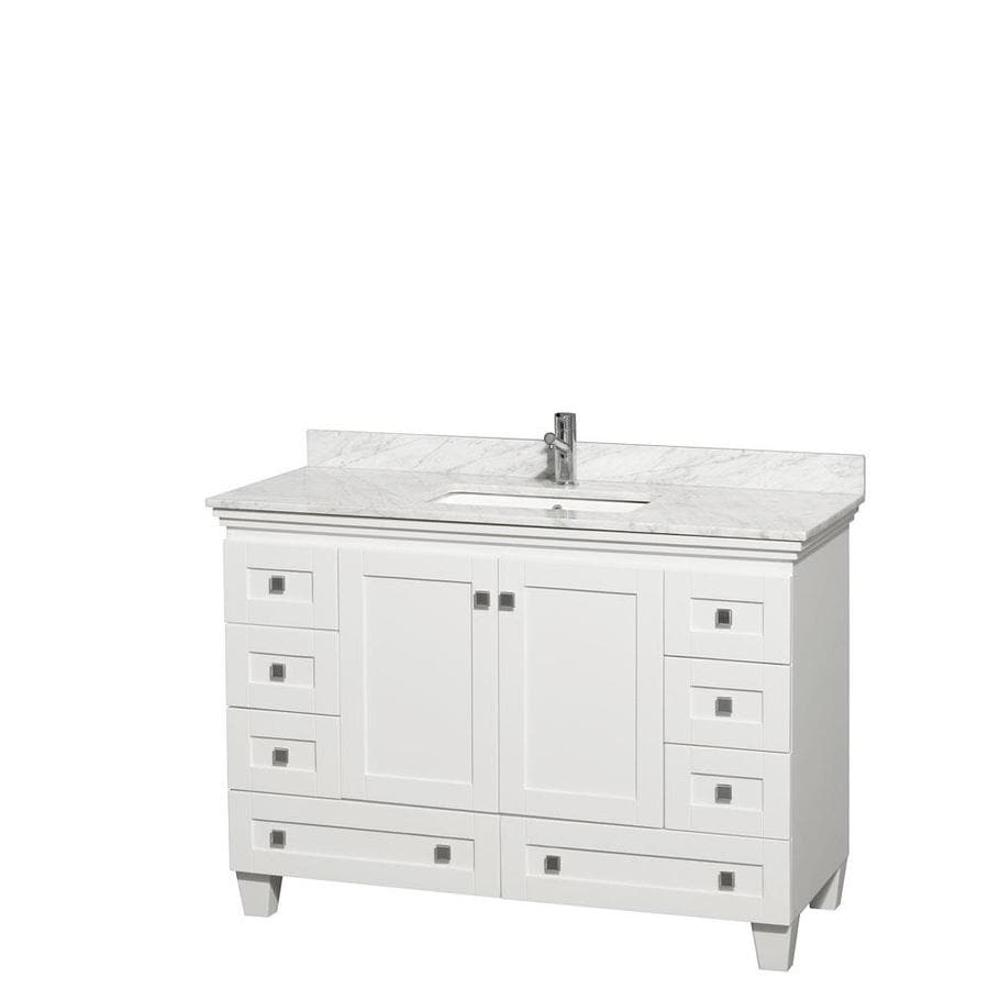 Wyndham Collection Acclaim White 48-in Undermount Single Sink Oak Bathroom Vanity with Natural Marble Top