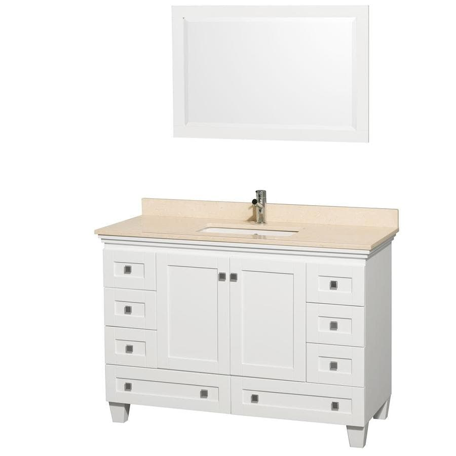 Wyndham Collection Acclaim White Undermount Single Sink Bathroom Vanity with Natural Marble Top (Common: 48-in x 22-in; Actual: 48-in x 22-in)