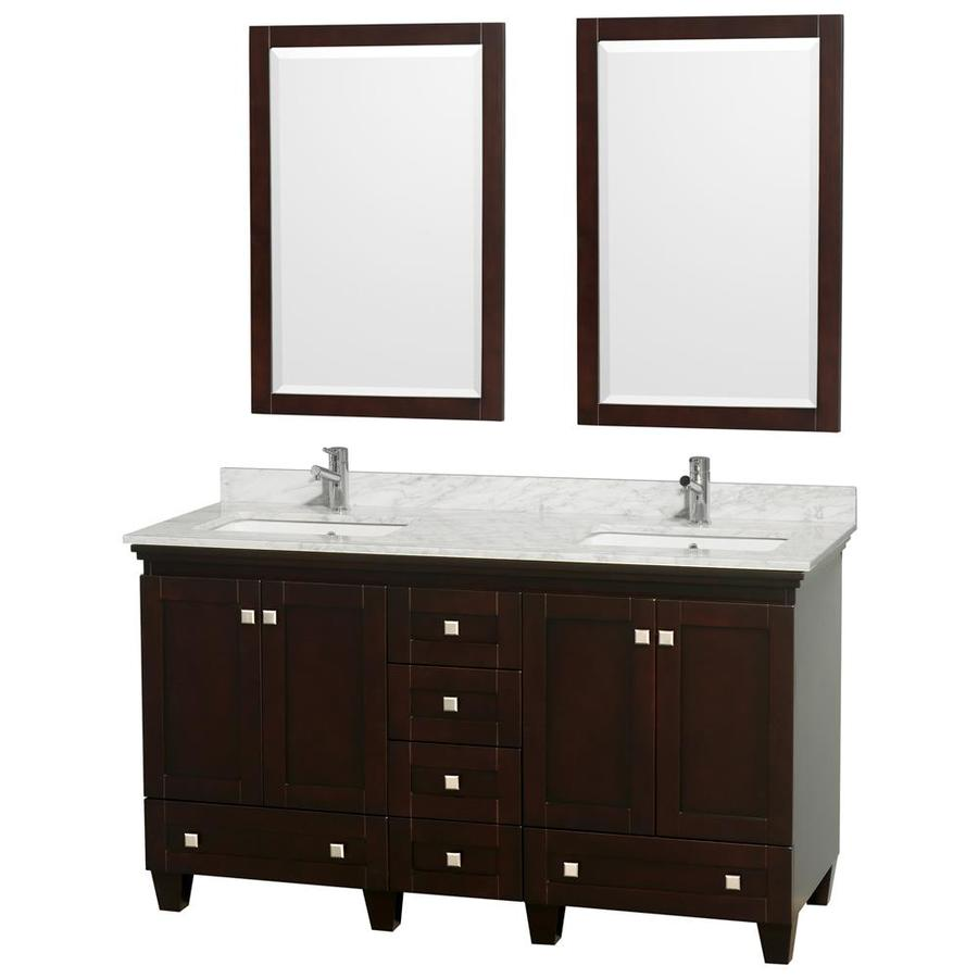 Wyndham Collection Acclaim Espresso 60-in Undermount Double Sink Oak Bathroom Vanity with Natural Marble Top (Mirror Included)
