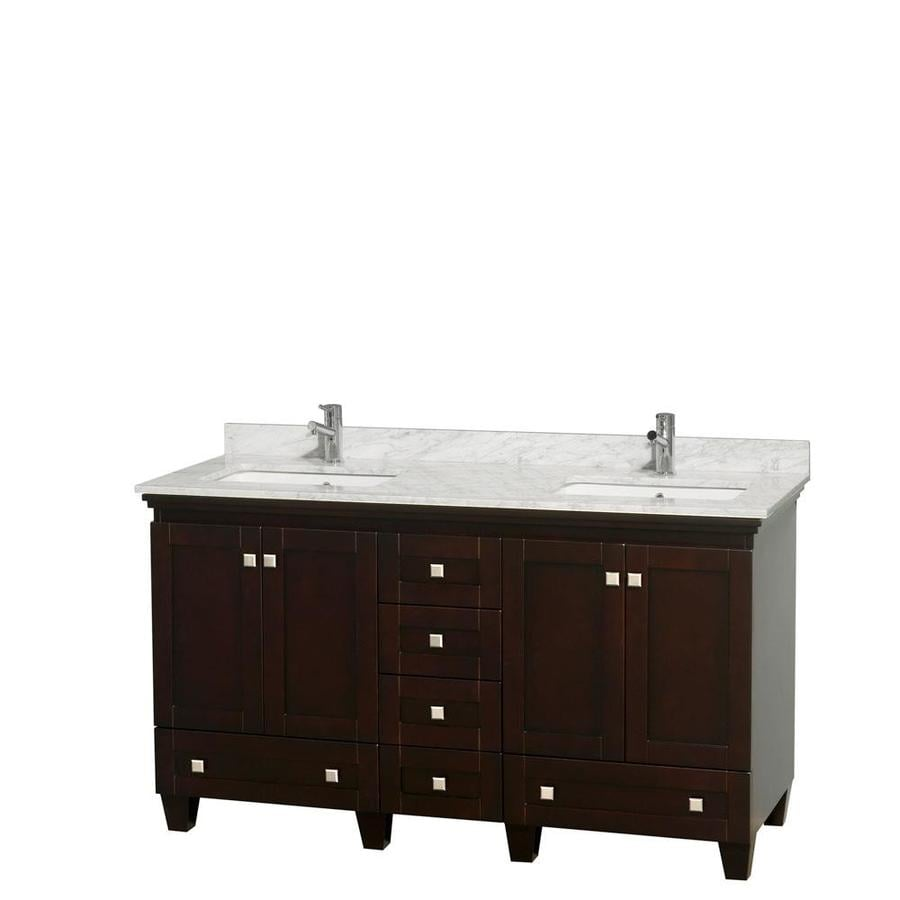 Wyndham Collection Acclaim Espresso Undermount Double Sink Bathroom Vanity with Natural Marble Top (Common: 60-in x 22-in; Actual: 60-in x 22-in)