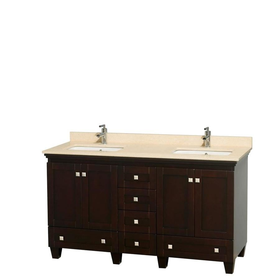 Wyndham Collection Acclaim Espresso (Common: 60-in x 22-in) Undermount Double Sink Oak Bathroom Vanity with Natural Marble Top (Actual: 60-in x 22-in)