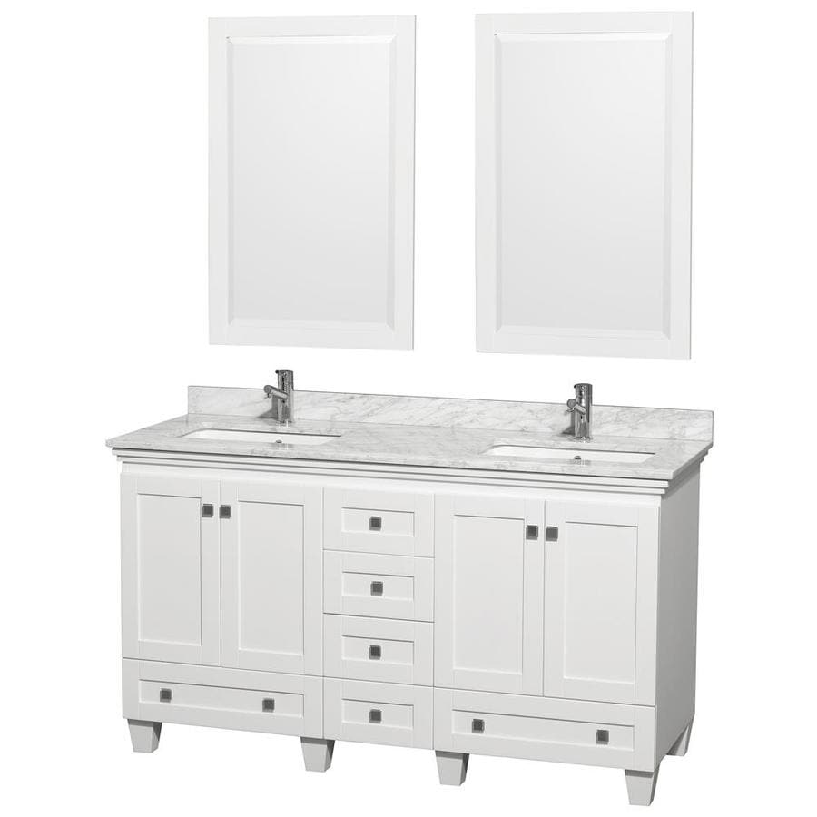 wyndham collection acclaim white undermount double sink bathroom vanity with natural marble top common - 60 Bathroom Vanity