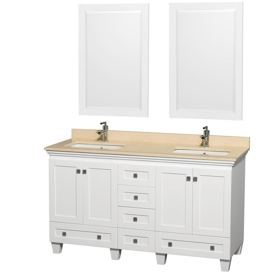Wyndham Collection Acclaim White Undermount Double Sink Bathroom Vanity with Natural Marble Top (Common: 60-in x 22-in; Actual: 60-in x 22-in)