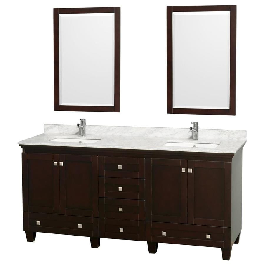Wyndham Collection Acclaim Espresso 72-in Undermount Double Sink Oak Bathroom Vanity with Natural Marble Top (Mirror Included)