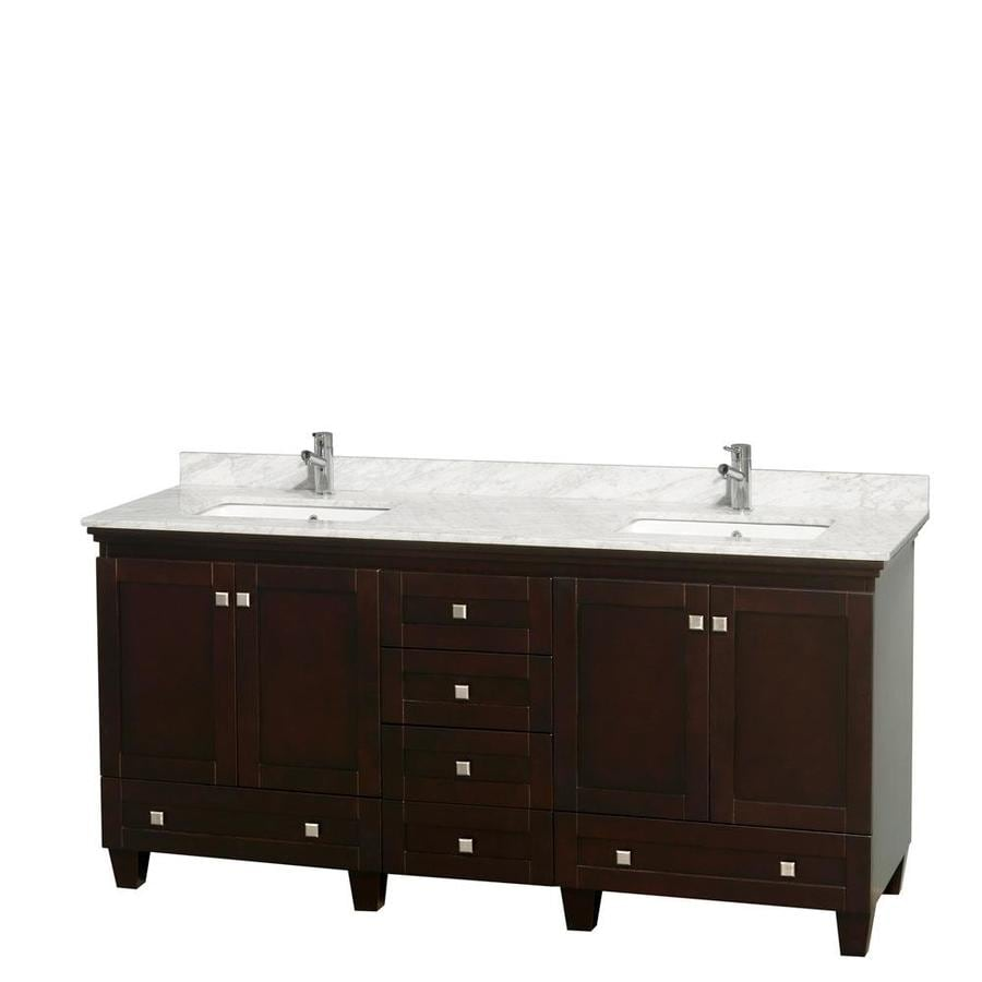 Wyndham Collection Acclaim Espresso Undermount Double Sink Bathroom Vanity with Natural Marble Top (Common: 72-in x 22-in; Actual: 72-in x 22-in)
