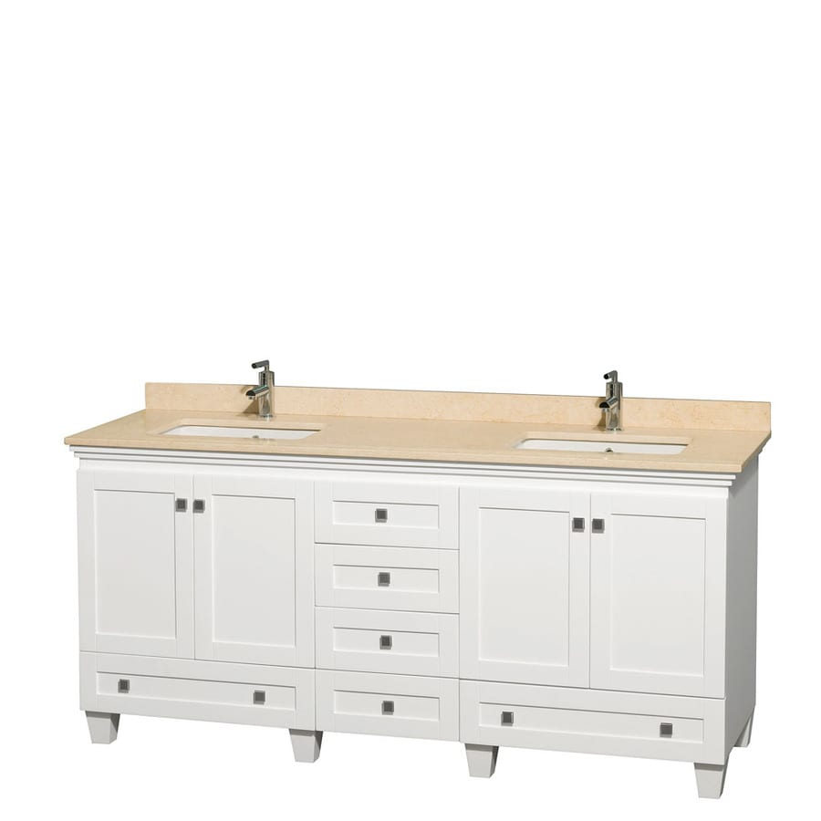Wyndham Collection Acclaim White Undermount Double Sink Bathroom Vanity with Natural Marble Top (Common: 72-in x 22-in; Actual: 72-in x 22-in)