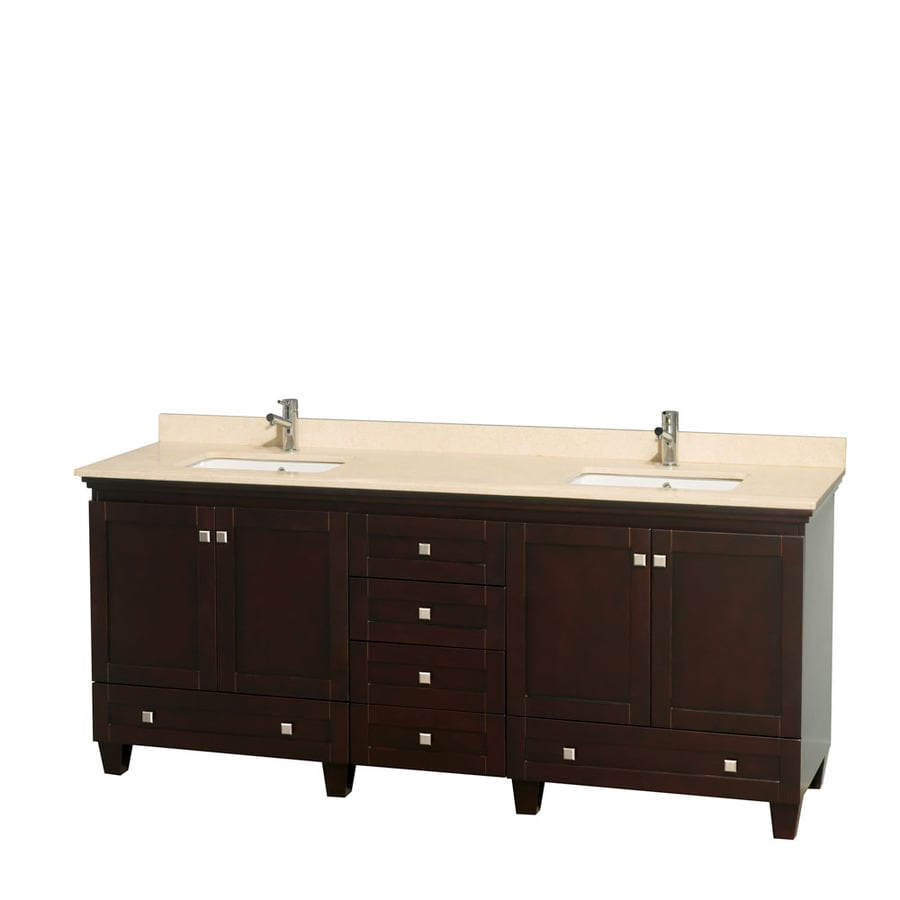 Wyndham Collection Acclaim Espresso Undermount Double Sink Bathroom Vanity with Natural Marble Top (Common: 80-in x 22-in; Actual: 80-in x 22-in)