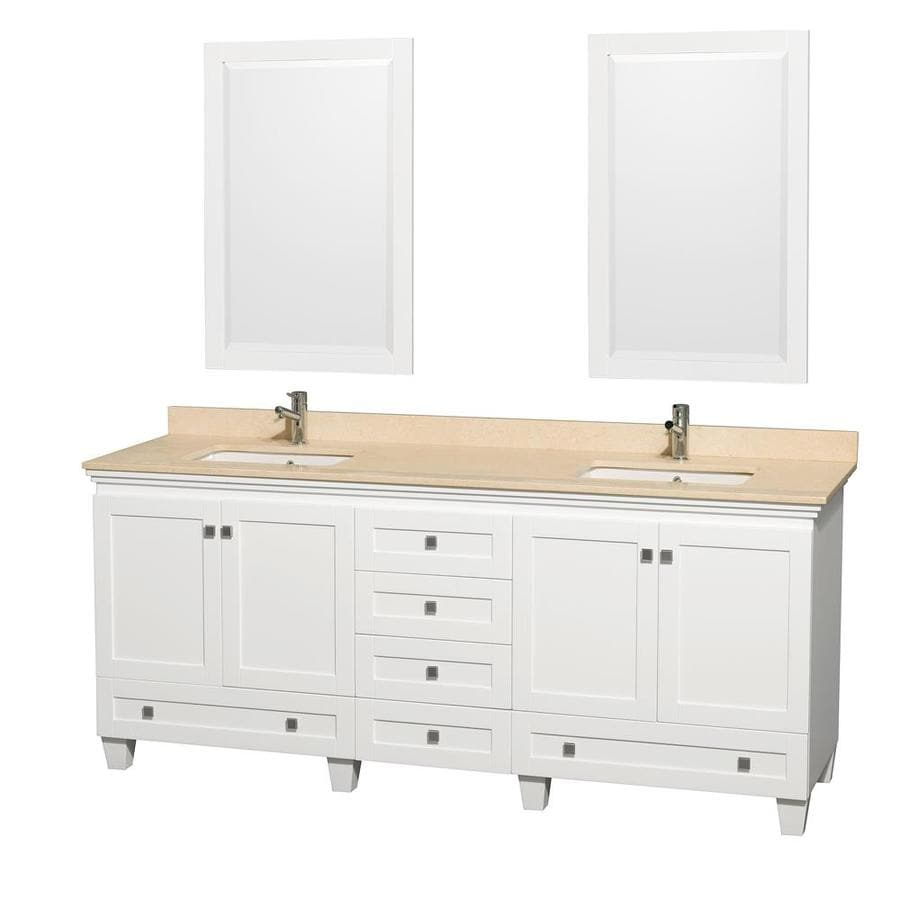 Wyndham Collection Acclaim White Undermount Double Sink Bathroom Vanity with Natural Marble Top (Common: 80-in x 22-in; Actual: 80-in x 22-in)