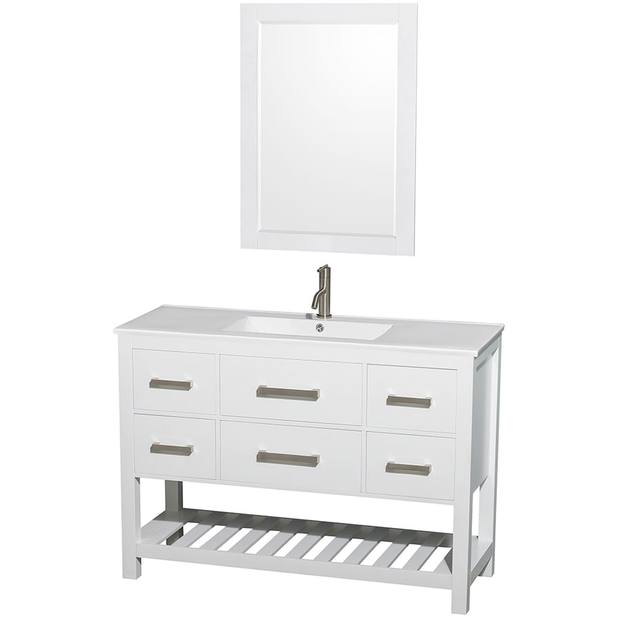 Shop Wyndham Collection Natalie White Single Sink Vanity with White on 48 inch bathroom vanity base, vanity countertops with sink, 48 inch oak bathroom vanity, granite vanity top with sink, white bathroom sink, white carrara marble vessel sink, granite bathroom countertop with undermount sink, 48 vanity top with sink, home depot vanity tops with sink, 48 inch bathroom mirror, 48 inch bathroom cabinet with sink, 48 inch bathroom medicine cabinet, home depot bathroom vanities with vessel sink,