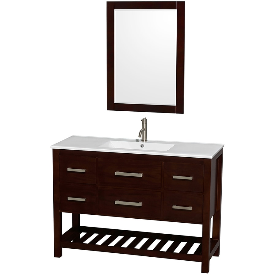Wyndham Collection Natalie Espresso 48-in Integral Single Sink Oak Bathroom Vanity with Engineered Stone Top (Mirror Included)