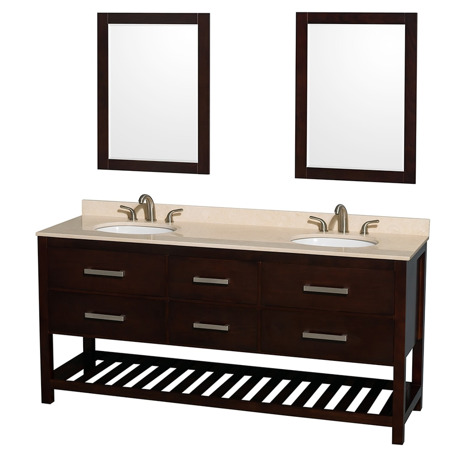 Wyndham Collection Natalie Espresso 72-in Undermount Double Sink Oak Bathroom Vanity with Natural Marble Top (Mirror Included)