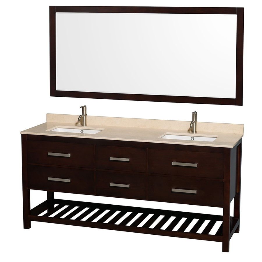 Wyndham Collection Natalie Espresso Undermount Double Sink Bathroom Vanity with Natural Marble Top (Common: 72-in x 22-in; Actual: 72-in x 22-in)
