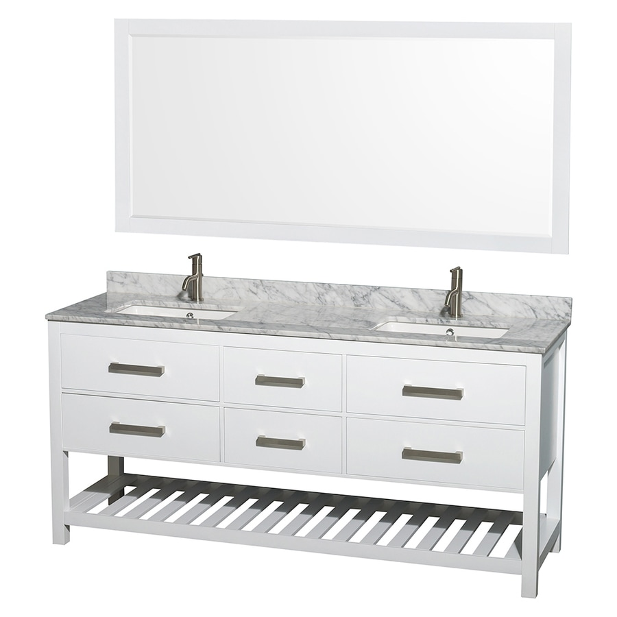 Wyndham Collection Natalie White 72-in Undermount Double Sink Oak Bathroom Vanity with Natural Marble Top (Mirror Included)