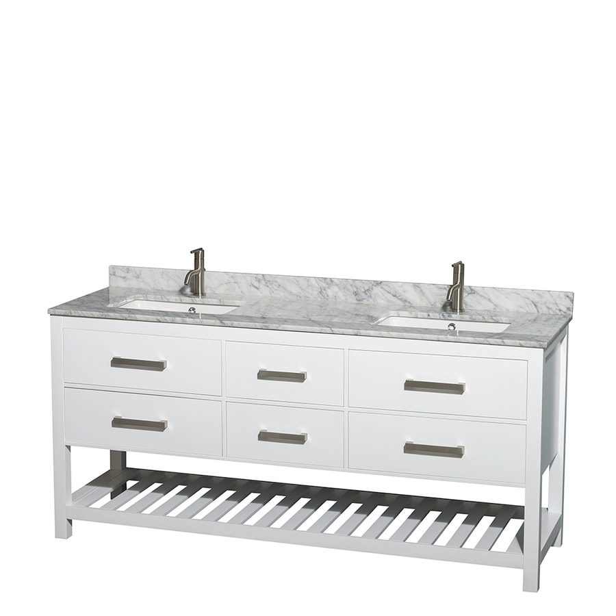 Wyndham Collection Natalie White Undermount Double Sink Bathroom Vanity with Natural Marble Top (Common: 72-in x 22-in; Actual: 72-in x 22-in)