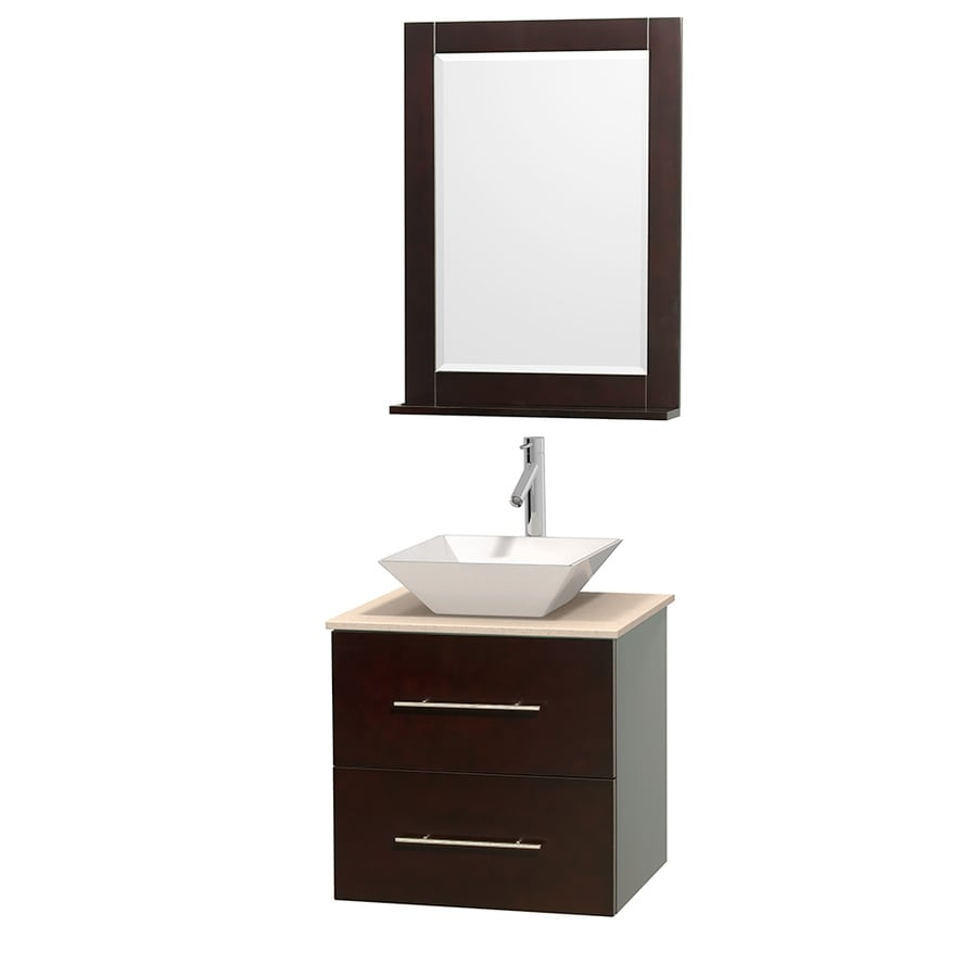 Wyndham Collection Centra Espresso Single Vessel Sink Bathroom Vanity with Natural Marble Top (Common: 24-in x 19-in; Actual: 24-in x 19-in)