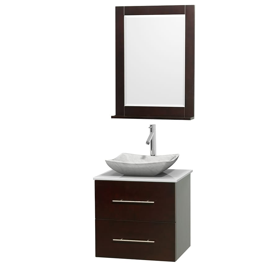 Wyndham Collection Centra Espresso Single Vessel Sink Bathroom Vanity with Engineered Stone Top (Common: 24-in x 19-in; Actual: 24-in x 19-in)