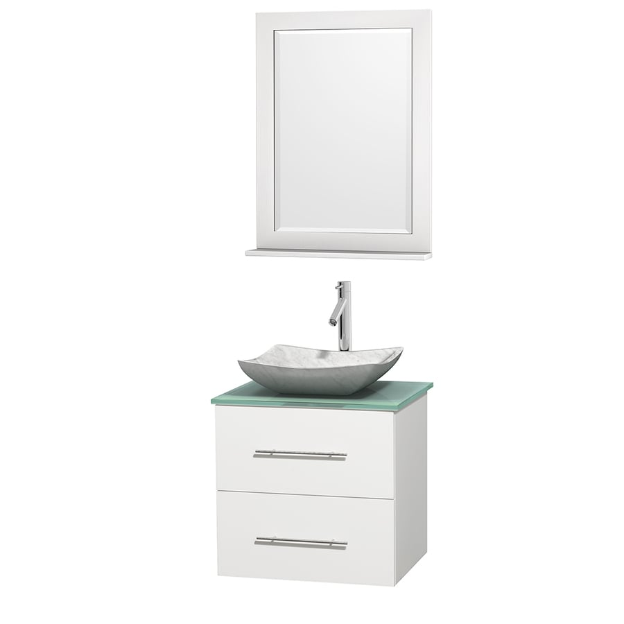 Wyndham Collection Centra White 24-in Vessel Single Sink Oak Bathroom Vanity with Tempered Glass and Glass Top (Mirror Included)