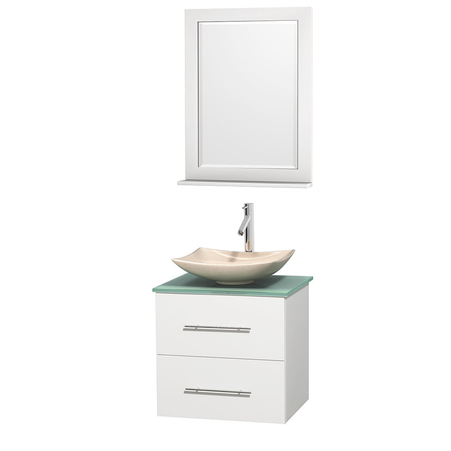 Wyndham Collection Centra White (Common: 24-in x 19-in) Vessel Single Sink Oak Bathroom Vanity with Tempered Glass and Glass Top (Mirror Included) (Actual: 24-in x 19-in)