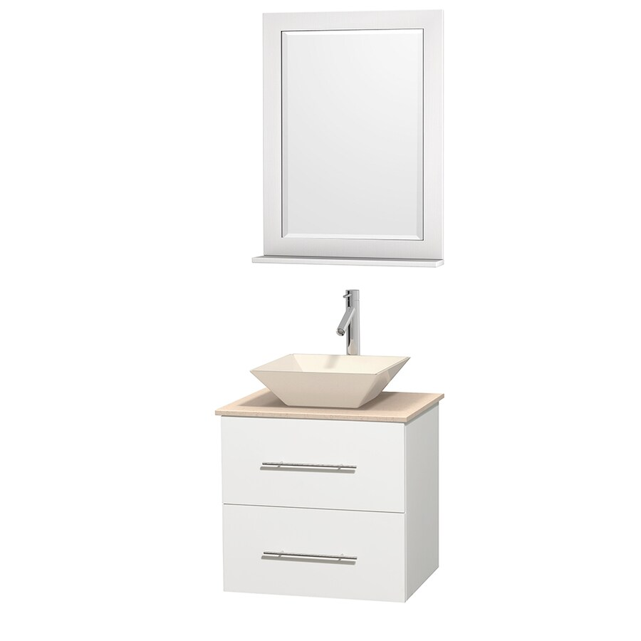 Wyndham Collection Centra White 24-in Vessel Single Sink Oak Bathroom Vanity with Natural Marble Top (Mirror Included)