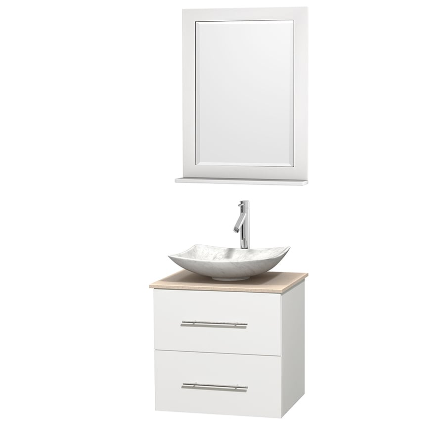 Wyndham Collection Centra White (Common: 24-in x 19-in) Vessel Single Sink Oak Bathroom Vanity with Natural Marble Top (Mirror Included) (Actual: 24-in x 19-in)