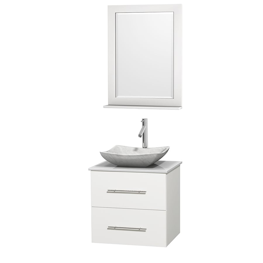 Wyndham Collection Centra White Single Vessel Sink Bathroom Vanity with Engineered Stone Top (Common: 24-in x 19-in; Actual: 24-in x 19-in)