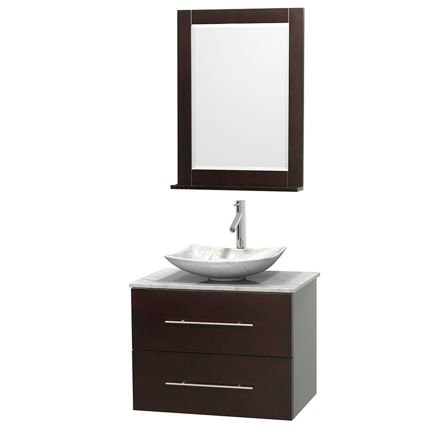 Wyndham Collection Centra Espresso (Common: 30-in x 20.5-in) Vessel Single Sink Oak Bathroom Vanity with Natural Marble Top (Mirror Included) (Actual: 30-in x 20.5-in)