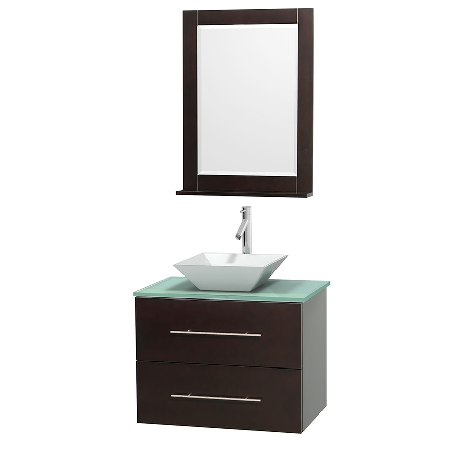 Wyndham Collection Centra Espresso Single Vessel Sink Bathroom Vanity with Tempered Glass and Glass Top (Common: 30-in x 20.5-in; Actual: 30-in x 20.5-in)
