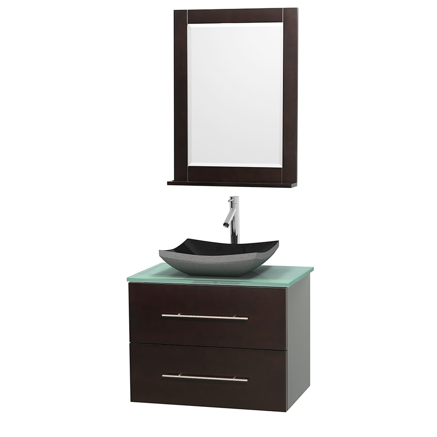 Wyndham Collection Centra Espresso (Common: 30-in x 20.5-in) Vessel Single Sink Oak Bathroom Vanity with Tempered Glass and Glass Top (Mirror Included) (Actual: 30-in x 20.5-in)