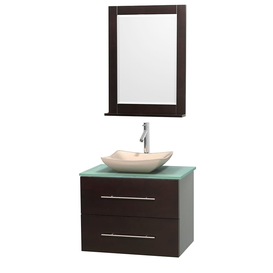 Wyndham Collection Centra Espresso 30-in Vessel Single Sink Oak Bathroom Vanity with Tempered Glass and Glass Top (Mirror Included)