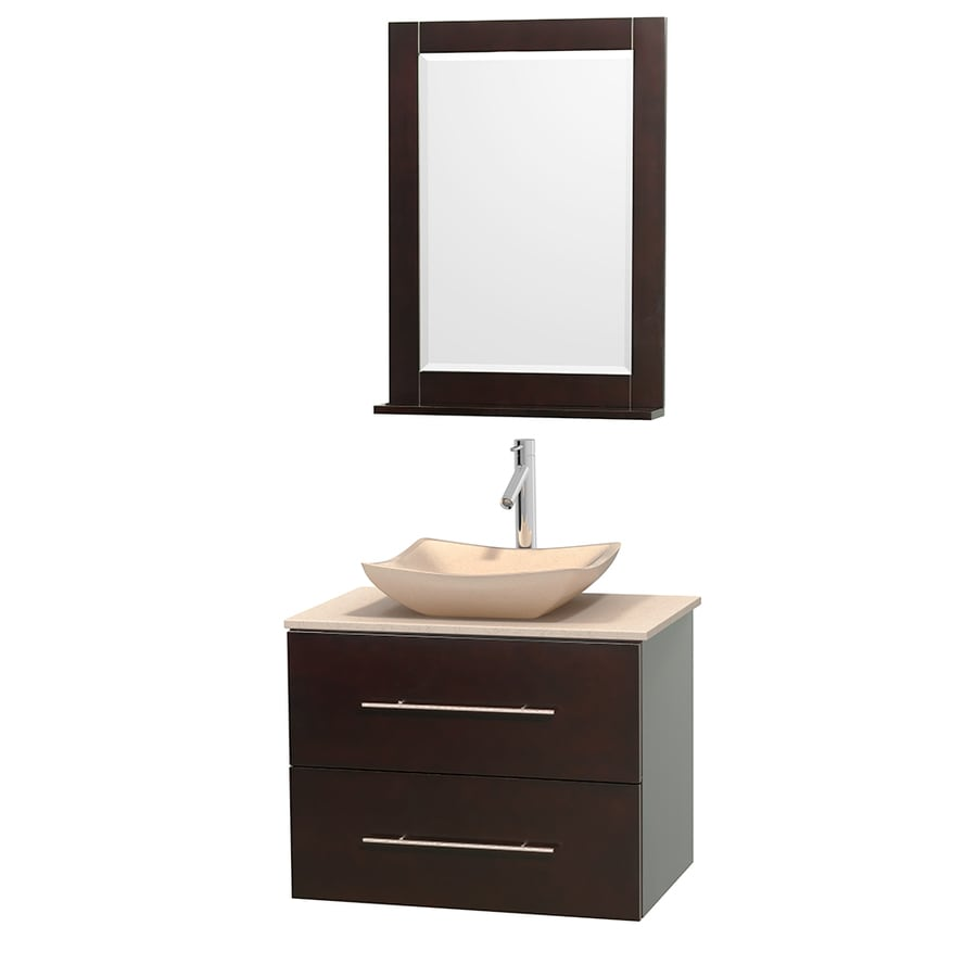 Wyndham Collection Centra Espresso 30-in Vessel Single Sink Oak Bathroom Vanity with Natural Marble Top (Mirror Included)