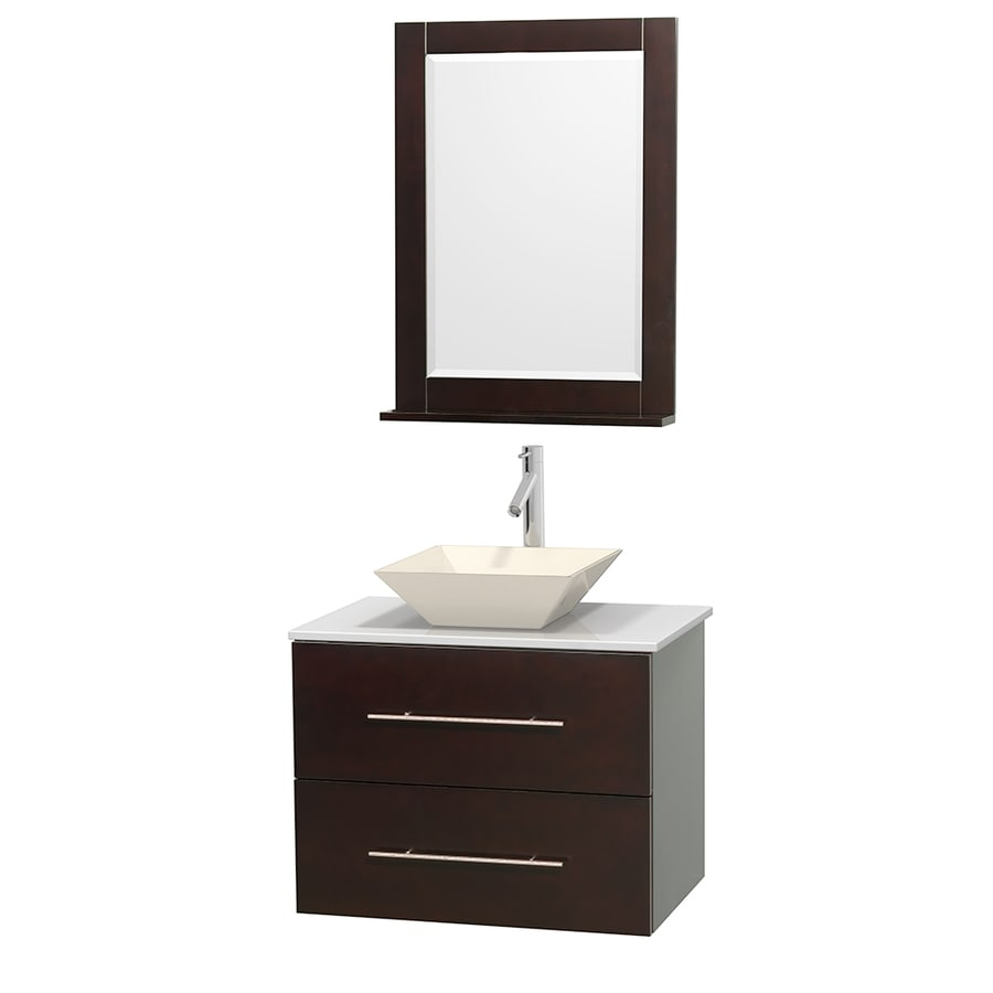 Wyndham Collection Centra Espresso (Common: 30-in x 20.5-in) Vessel Single Sink Oak Bathroom Vanity with Engineered Stone Top (Mirror Included) (Actual: 30-in x 20.5-in)