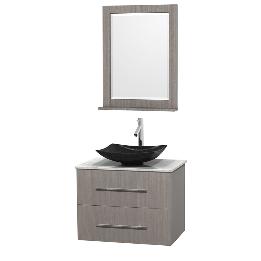 Wyndham Collection Centra Gray Oak 30-in Vessel Single Sink Oak Bathroom Vanity with Natural Marble Top (Mirror Included)
