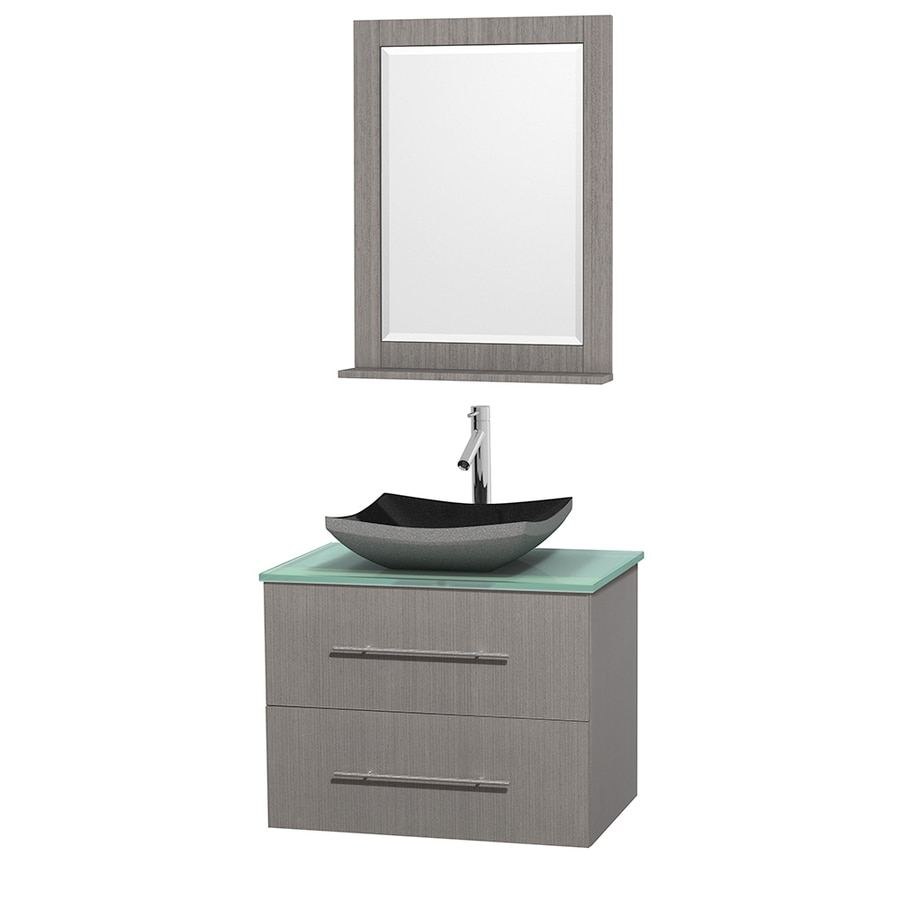 Wyndham Collection Centra Gray Oak Single Vessel Sink Bathroom Vanity with Tempered Glass and Glass Top (Common: 30-in x 20.5-in; Actual: 30-in x 20.5-in)