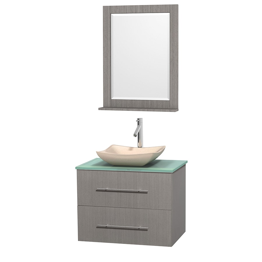 Wyndham Collection Centra Gray Oak 30-in Vessel Single Sink Oak Bathroom Vanity with Tempered Glass and Glass Top (Mirror Included)