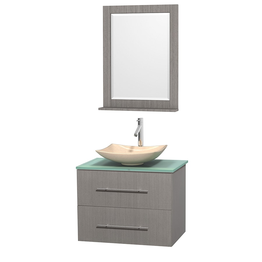 Wyndham Collection Centra Gray Oak (Common: 30-in x 20.5-in) Vessel Single Sink Oak Bathroom Vanity with Tempered Glass and Glass Top (Mirror Included) (Actual: 30-in x 20.5-in)