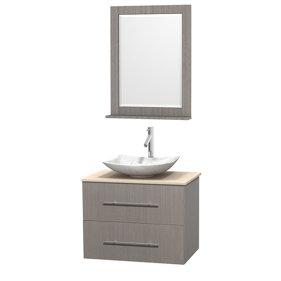 Wyndham Collection Centra Gray Oak (Common: 30-in x 20.5-in) Vessel Single Sink Oak Bathroom Vanity with Natural Marble Top (Mirror Included) (Actual: 30-in x 20.5-in)