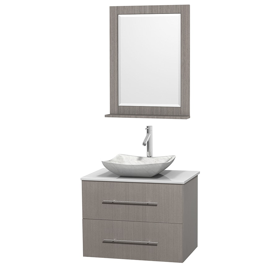 Wyndham Collection Centra Gray Oak (Common: 30-in x 20.5-in) Vessel Single Sink Oak Bathroom Vanity with Engineered Stone Top (Mirror Included) (Actual: 30-in x 20.5-in)