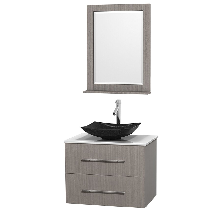 Wyndham Collection Centra Gray Oak 30-in Vessel Single Sink Oak Bathroom Vanity with Engineered Stone Top (Mirror Included)