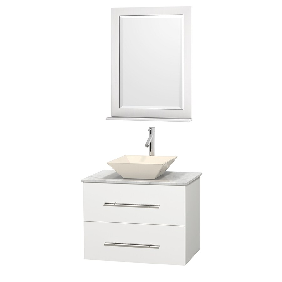 Wyndham Collection Centra White Single Vessel Sink Bathroom Vanity with Natural Marble Top (Common: 30-in x 20.5-in; Actual: 30-in x 20.5-in)