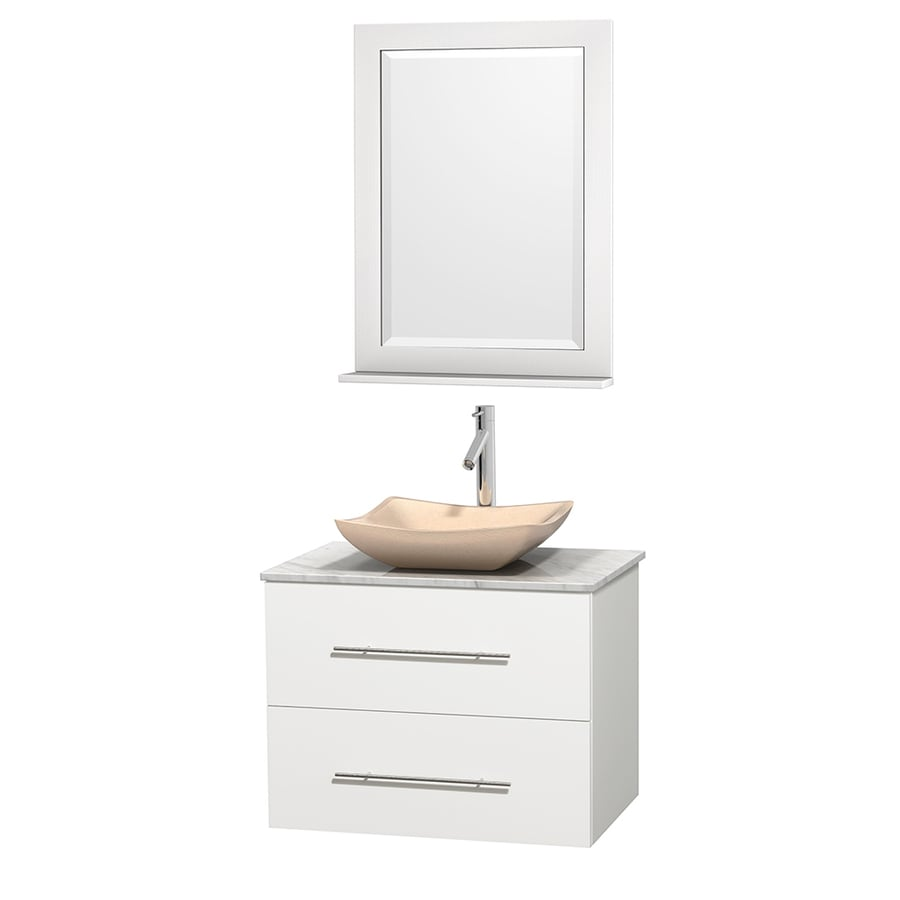 Wyndham Collection Centra White 30-in Vessel Single Sink Oak Bathroom Vanity with Natural Marble Top (Mirror Included)