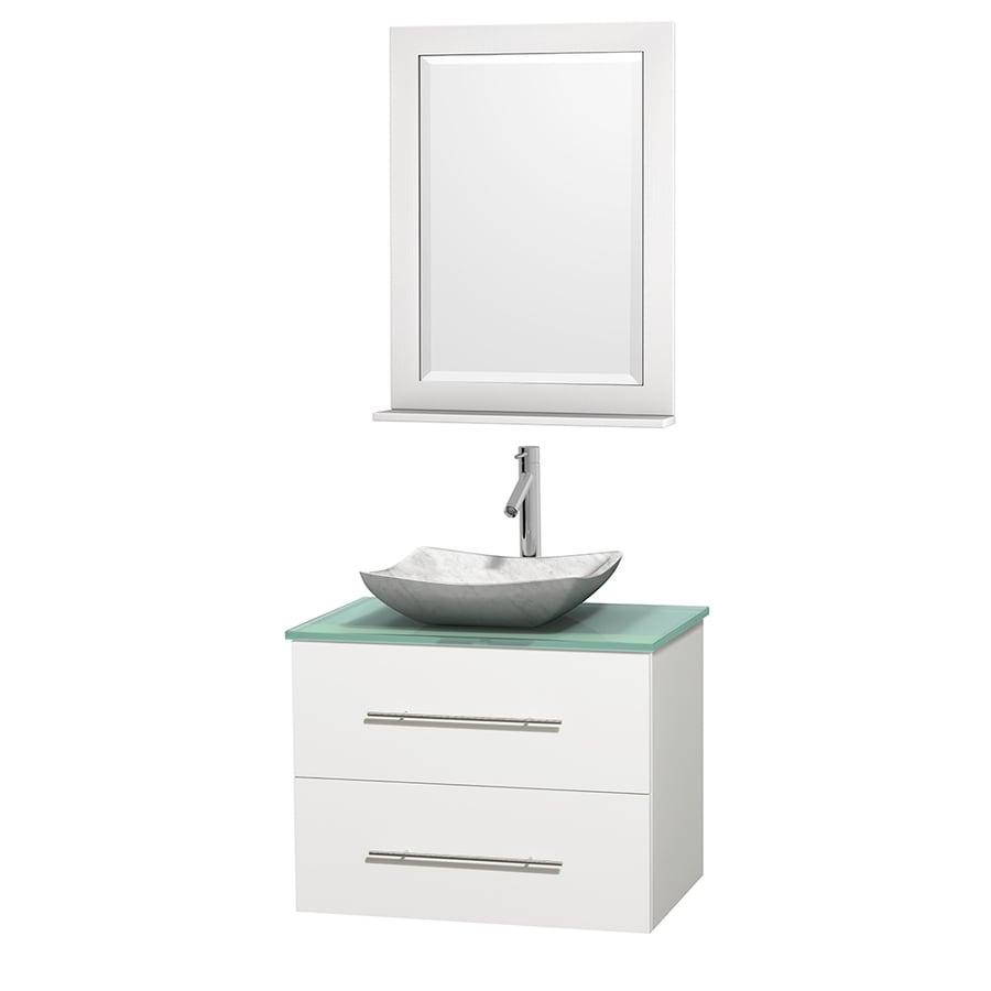 Wyndham Collection Centra White (Common: 30-in x 20.5-in) Vessel Single Sink Oak Bathroom Vanity with Tempered Glass and Glass Top (Mirror Included) (Actual: 30-in x 20.5-in)