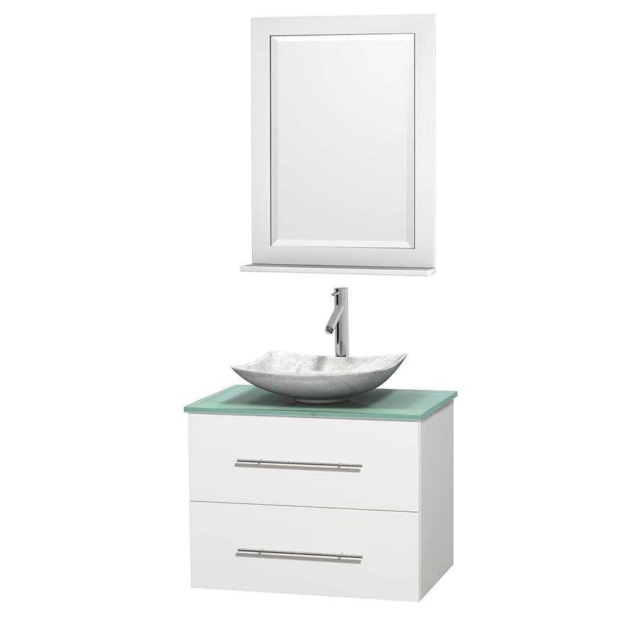 Wyndham Collection Centra White 30-in Vessel Single Sink Oak Bathroom Vanity with Tempered Glass and Glass Top (Mirror Included)