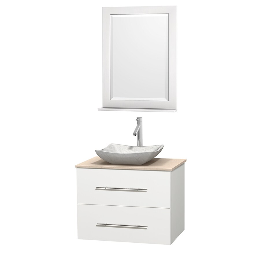 Wyndham Collection Centra White (Common: 30-in x 20.5-in) Vessel Single Sink Oak Bathroom Vanity with Natural Marble Top (Mirror Included) (Actual: 30-in x 20.5-in)