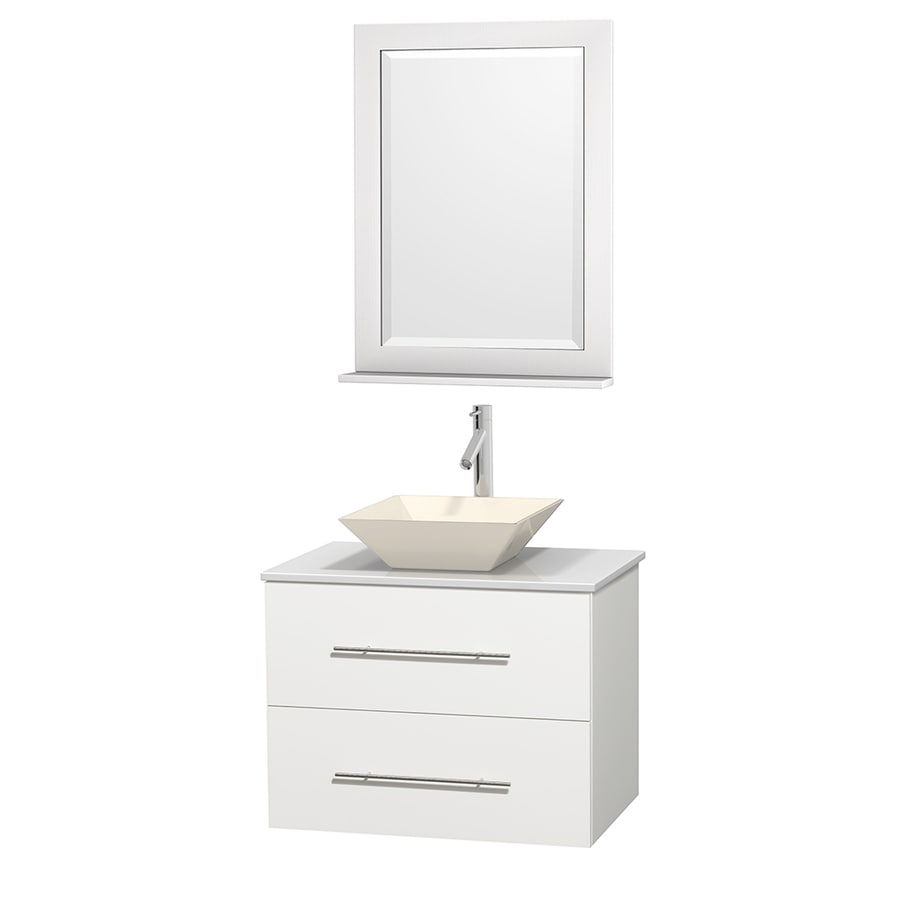 Wyndham Collection Centra White 30-in Vessel Single Sink Oak Bathroom Vanity with Engineered Stone Top (Mirror Included)