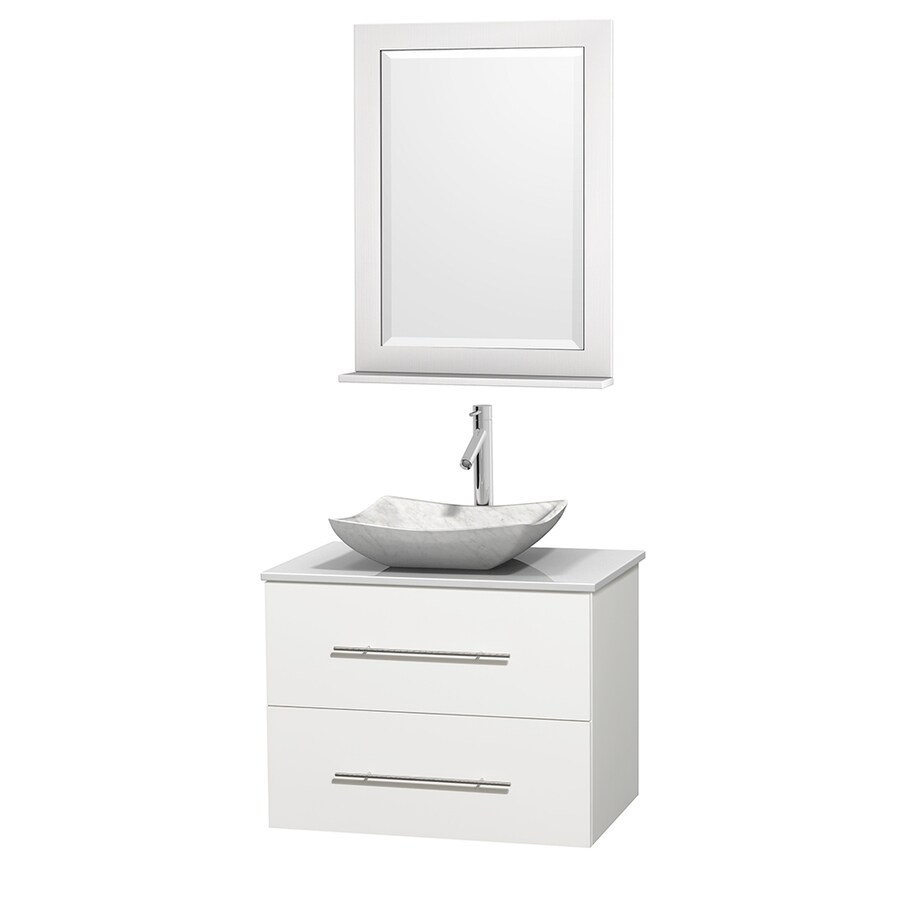 Wyndham Collection Centra White Single Vessel Sink Bathroom Vanity with Engineered Stone Top (Common: 30-in x 20.5-in; Actual: 30-in x 20.5-in)