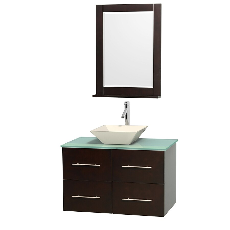 Wyndham Collection Centra Espresso 36-in Vessel Single Sink Oak Bathroom Vanity with Tempered Glass and Glass Top (Mirror Included)
