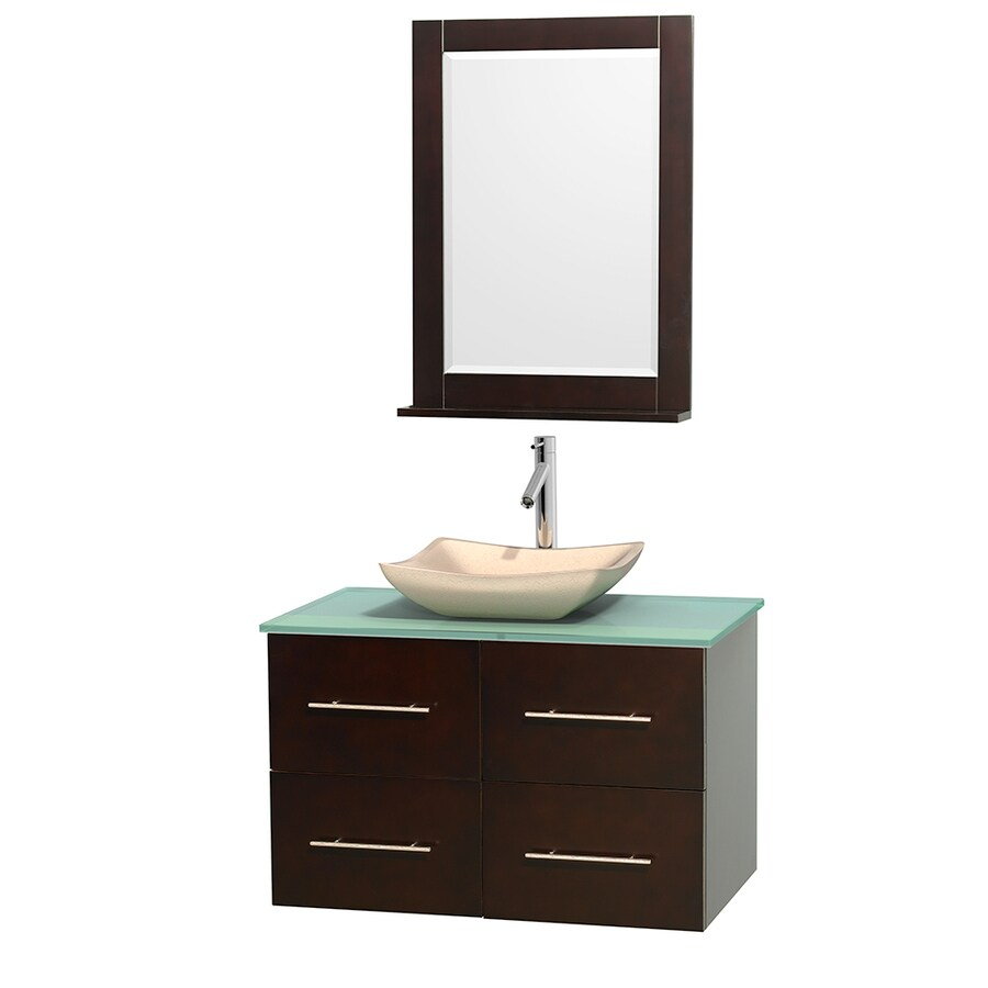 Wyndham Collection Centra Espresso (Common: 36-in x 21.5-in) Vessel Single Sink Oak Bathroom Vanity with Tempered Glass and Glass Top (Mirror Included) (Actual: 36-in x 21.5-in)