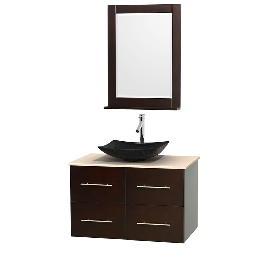 Wyndham Collection Centra Espresso (Common: 36-in x 21.5-in) Vessel Single Sink Oak Bathroom Vanity with Natural Marble Top (Mirror Included) (Actual: 36-in x 21.5-in)