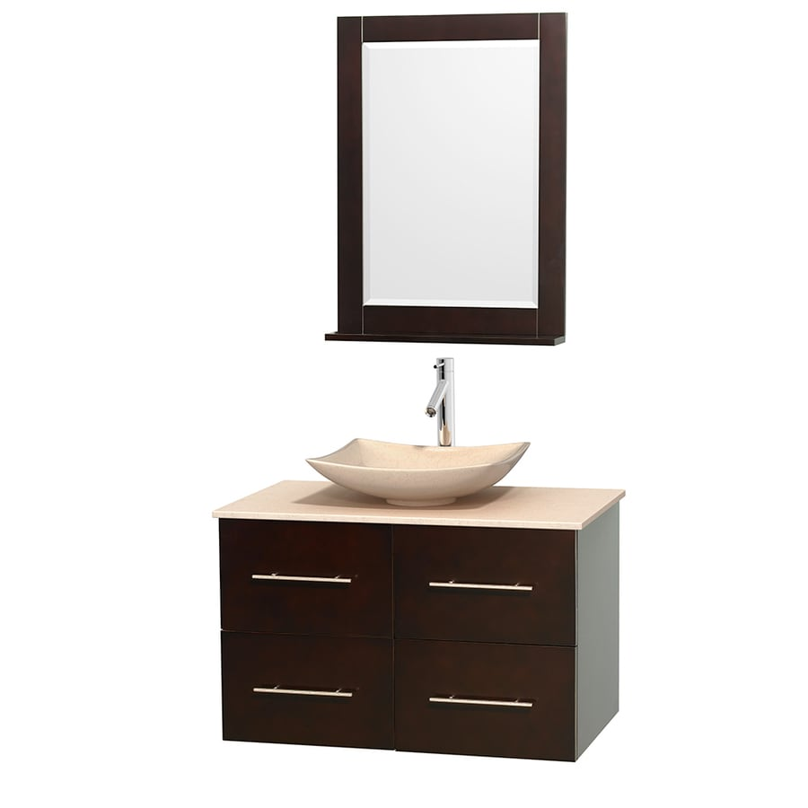 Wyndham Collection Centra Espresso 36-in Vessel Single Sink Oak Bathroom Vanity with Natural Marble Top (Mirror Included)